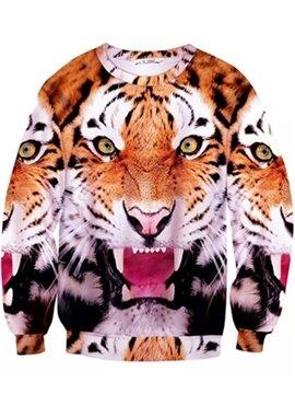 Super Long Sleeve Tiger Pattern Inner Suede 3D Painted Hoodie