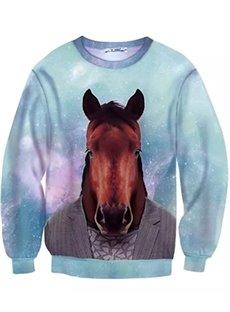 Cute Long Sleeve Horse in Cloth Pattern Blue Inner Suede 3D Painted Hoodie