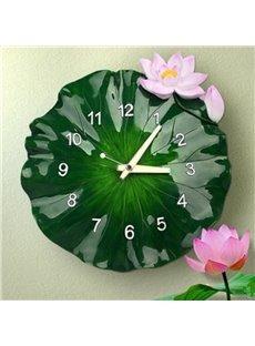 Natural Design Lotus Leaf Shape Resin Battery Wall Clock
