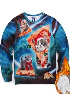 Long Sleeve Christmas Cat Pattern Inner Suede 3D Painted Hoodie