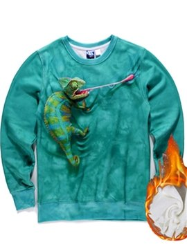 Long Sleeve Lizard Pattern Blue Inner Suede 3D Painted Hoodie