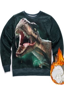 Cool Long Sleeve Dinosaur Pattern Inner Suede 3D Painted Hoodie