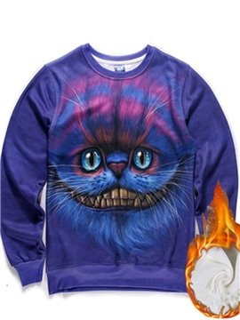 Long Sleeve Big Mouth Cat Pattern Purple Inner Suede 3D Painted Hoodie