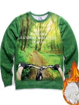 Unique Long Sleeve Abstract Pattern Green Inner Suede 3D Painted Hoodie