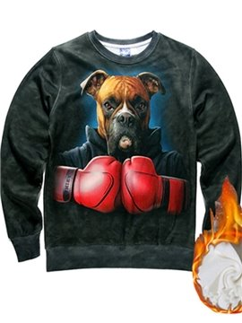 Long Sleeve Dog Boxer Pattern Inner Suede 3D Painted Hoodie