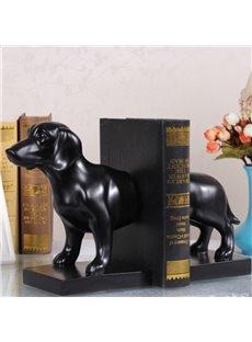 Black Resin Cute Dog Shape Design Book Holder Desktop Decoration