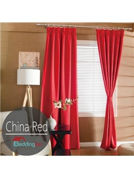 Contemporary Concise Solid Red Polyester Custom Curtain