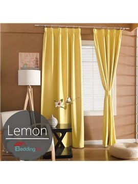 Contemporary Concise Solid Lemon Polyester Custom Curtain