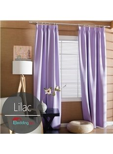 Contemporary Concise Solid Lilac Polyester Custom Curtain