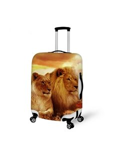 Cool Lions Couple Pattern 3D Painted Luggage Cover