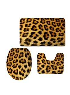Leopard Stripes 3D Printed 3-Pieces Toilet Seat Cover