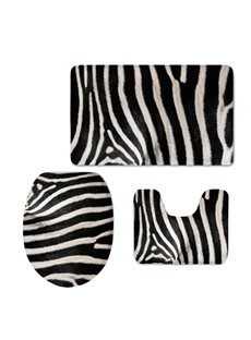 Zebra Stripes 3D Printed 3-Pieces Toilet Seat Cover