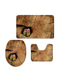 Couple Beautiful Birds in Tree Hole 3D Printed 3-Pieces Toilet Seat Cover