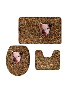 Cute Pig 3D Printed 3-Pieces Toilet Seat Cover