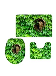 Owl Hiding in the Leaves Printed 3-Pieces 3D Toilet Seat Cover Sets