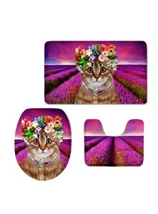 Cat with Garland and Necklace in the Lavender Field 3D Printing 3-Pieces Toilet Seat Cover
