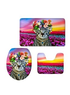 Lady Cat in the Tulip Field 3D Printing 3-Pieces Toilet Seat Cover