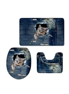 Cute Cat in the Jean 3D Printing 3-Pieces Toilet Seat Cover