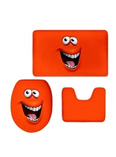 Red Funny Grimace 3D Printing 3-Pieces Toilet Seat Cover