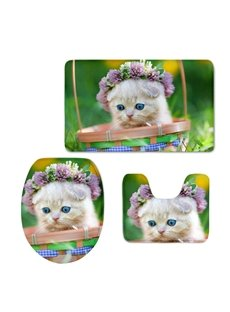 Lovely Cat in the Basket 3D Printing 3-Pieces Toilet Seat Cover