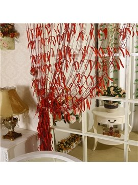 Romantic Red Willow Leaf Design Custom String Curtain