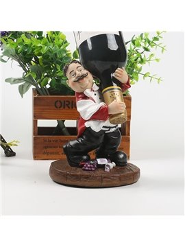 Amusing Resin Waiter Shape Desktop Decoration Wine Rack