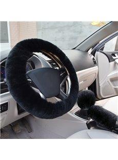 Solid Black Short Plush 3-Pieces Wool Material Medium Car Steering Wheel Cover