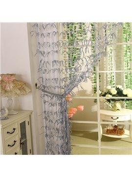 Romantic Grey Willow Leaf Design Custom String Curtain