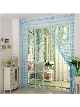 Romantic Blue Willow Leaf Design Custom String Curtain