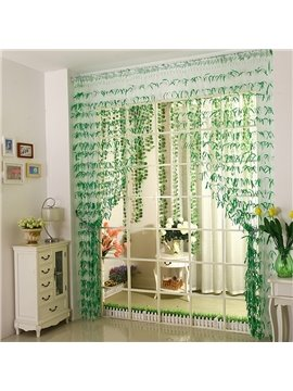 Romantic Green Willow Leaf Design Custom String Curtain