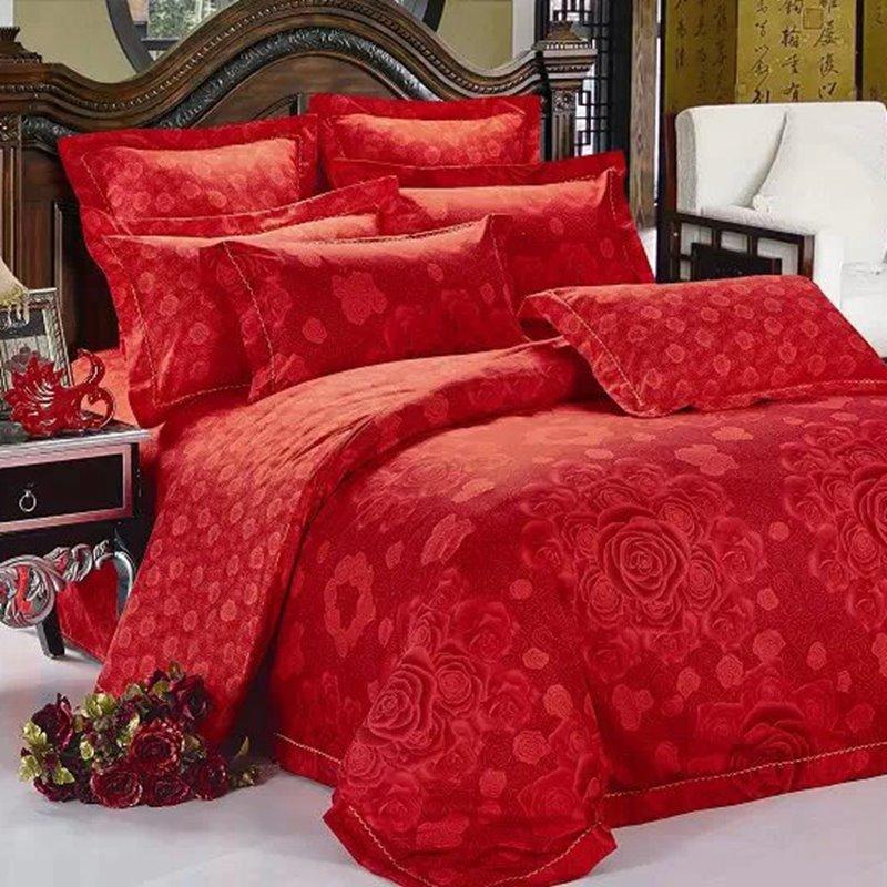 Red Blooming Flower Print 2-Piece Throw Pillow Cases - beddinginn.com