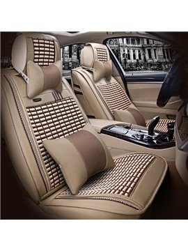 Durable PU And Ice Silk Material Mixing Stretch-Resistant Textured Universal Five Car Seat Cover