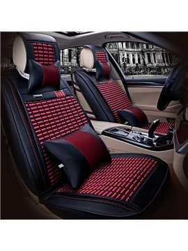 New Durable PU And Ice Silk Material Mixing Stretch-Resistant Universal Five Car Seat Cover