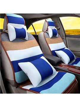 Good Permeability Flax Material Colorful Rainbow Style Beautiful Universal Five Car Seat Cover