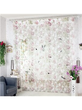 112-Inches Length Pink Butterfly Design Custom String Curtain