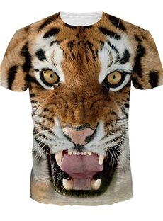 Popular Round Neck Tiger Face Pattern 3D Painted T-Shirt
