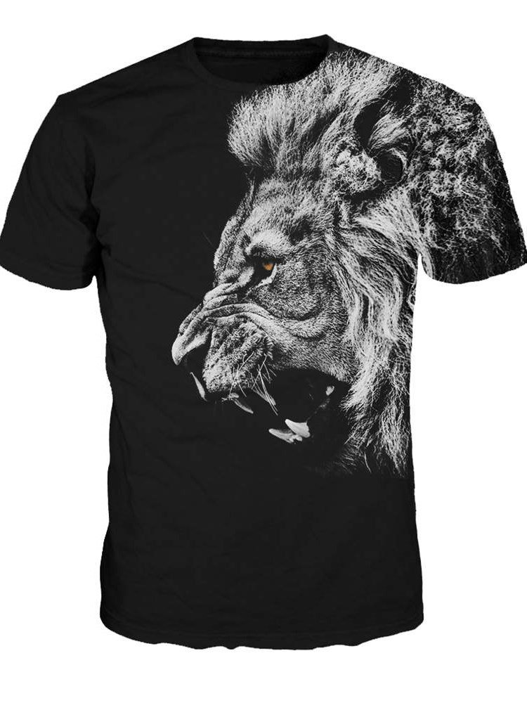 Super cool round neck lion pattern black 3d painted t for T shirt printing sites