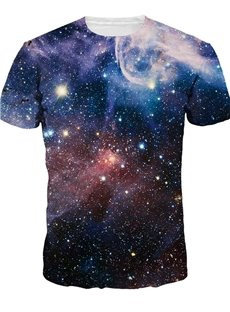 Round Neck Dark Purple Galaxy Pattern 3D Painted T-Shirt