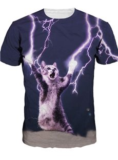 Special Round Neck Lightning Cat Pattern 3D Painted T-Shirt