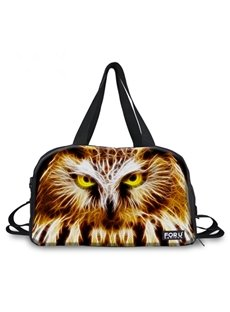 Modern Fire Owl Face Pattern 3D Painted Travel Bag