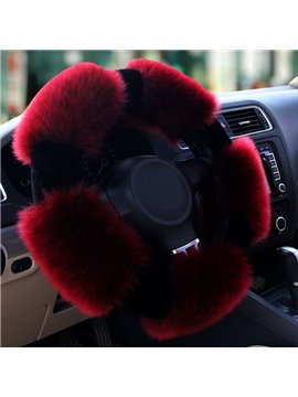 Popular Winter Autumn Long Wool Material Warm Red Medium Car Steering Wheel Cover
