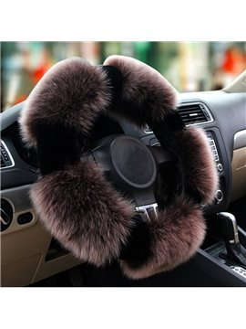 Popular Winter Autumn Long Wool Material Warm Medium Car Steering Wheel Cover