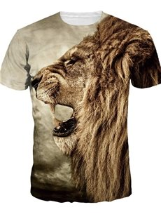Stylish Round Neck Lion Face Pattern 3D Painted T-Shirt