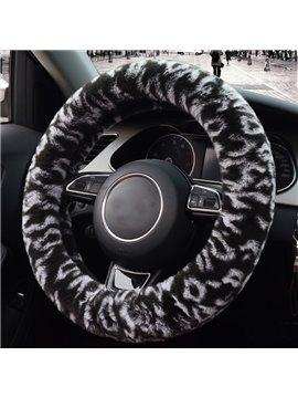 Beautiful Black White Spot Mixing With Velvet Plush Material Medium Car Steering Wheel Cover