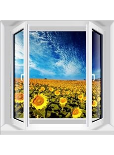Popular Sunflower Field Window View Pattern 3D Wall Stickers