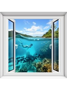 Beautiful Girl Swimming under the Sea Window Scenery 3D Wall Stickers