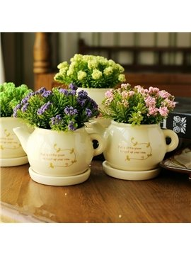 Fresh Modern Creative Teapot Shape Artificial Flower Sets