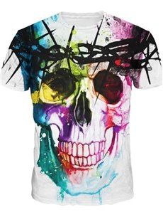 Fashion Round Neck Abstract Skull Pattern 3D Painted T-Shirt