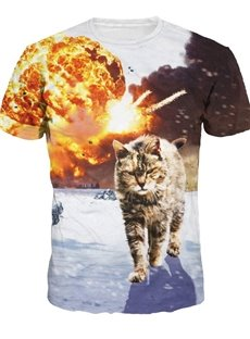 Round Neck Cat Walk in War Pattern 3D Painted T-Shirt