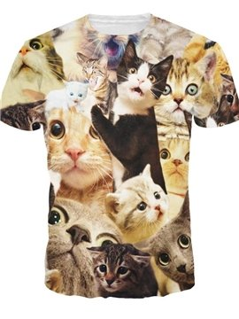 Adorable Round Neck Kinds of Cats Pattern 3D Painted T-Shirt